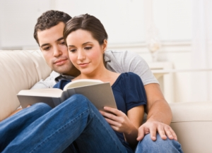 Cozy Couple Reading Book